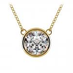 Bezel Diamond Solitaire Pendant in Yellow Gold (3 ctw) | Thumbnail 01
