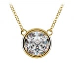Bezel Diamond Solitaire Pendant in Yellow Gold (3 ctw) | Thumbnail 01