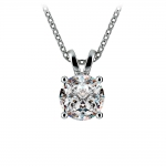 Round Diamond Solitaire Pendant in White Gold (1 1/2 ctw) | Thumbnail 01