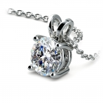 Round Diamond Solitaire Pendant in White Gold (1 1/2 ctw) | Thumbnail 03