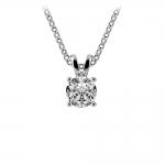 Round Diamond Solitaire Pendant in White Gold (1/2 ctw) | Thumbnail 01