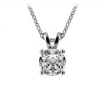 Round Diamond Solitaire Pendant in White Gold (1 ctw) | Thumbnail 01