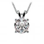 Round Diamond Solitaire Pendant in White Gold (3 ctw) | Thumbnail 01