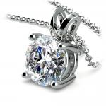 Round Diamond Solitaire Pendant in White Gold (3 ctw) | Thumbnail 03