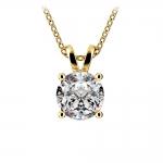 Round Diamond Solitaire Pendant in Yellow Gold (2 ctw) | Thumbnail 01
