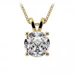 Round Diamond Solitaire Pendant in Yellow Gold (3 ctw) | Thumbnail 01