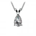 Pear Diamond Solitaire Pendant in White Gold (1 1/2 ctw) | Thumbnail 01