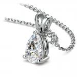 Pear Diamond Solitaire Pendant in White Gold (1 1/2 ctw) | Thumbnail 03