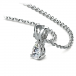 Pear Diamond Solitaire Pendant in White Gold (1/4 ctw) | Thumbnail 03