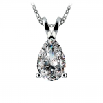 Pear Diamond Solitaire Pendant in White Gold (3 ctw) | Thumbnail 01