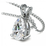 Pear Diamond Solitaire Pendant in White Gold (3 ctw) | Thumbnail 03