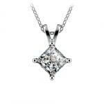 Princess Diamond Solitaire Pendant in White Gold (1 1/2 ctw)    Thumbnail 01