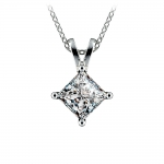 Princess Diamond Solitaire Pendant in White Gold (1 1/2 ctw)  | Thumbnail 01
