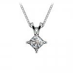 Princess Diamond Solitaire Pendant in White Gold (1/2 ctw)  | Thumbnail 01