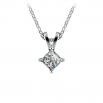 Princess Diamond Solitaire Pendant in White Gold (1/4 ctw)  | Thumbnail 01