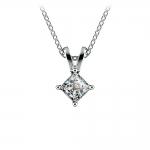 Princess Diamond Solitaire Pendant in White Gold (1/5 ctw)  | Thumbnail 01