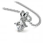 Princess Diamond Solitaire Pendant in White Gold (1/5 ctw)  | Thumbnail 03