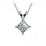 Princess Diamond Solitaire Pendant in White Gold (1 ctw)    Thumbnail 01