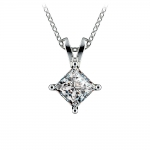 Princess Diamond Solitaire Pendant in White Gold (1 ctw)  | Thumbnail 01