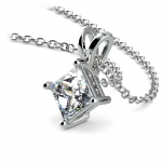 Princess Diamond Solitaire Pendant in White Gold (1 ctw)    Thumbnail 03