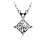 Princess Diamond Solitaire Pendant in White Gold (2 ctw)    Thumbnail 01