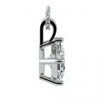 Princess Diamond Solitaire Pendant in White Gold (2 ctw)    Thumbnail 02