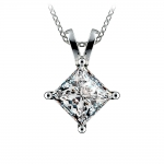 Princess Diamond Solitaire Pendant in White Gold (3 ctw)    Thumbnail 01