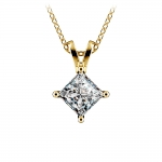 Princess Diamond Solitaire Pendant in Yellow Gold (1 ctw)  | Thumbnail 01
