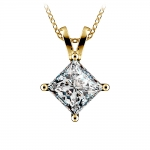Princess Diamond Solitaire Pendant in Yellow Gold (3 ctw)  | Thumbnail 01