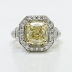 Diamond Encrusted Three Stone Halo Ring | Thumbnail 01