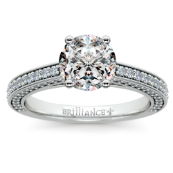 Pave Three Sided Diamond Engagement Ring in Platinum (1/2 ctw)