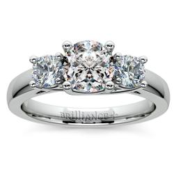Trellis Three Diamond Engagement Ring in White Gold (1/2 ctw)