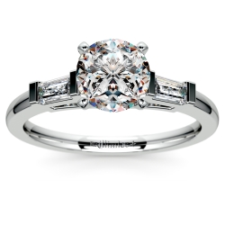 Baguette Diamond Engagement Ring in White Gold (1/3 ctw)