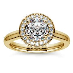 Halo Diamond Engagement Ring in Yellow Gold (1/4 ctw)