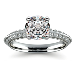 Antique Floral Knife Edge Solitaire Engagement Ring in White Gold