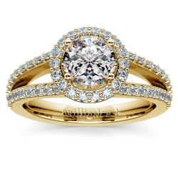 Halo Split Shank Diamond Engagement Ring in Yellow Gold