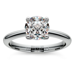 Knife Edge Solitaire Engagement Ring in White Gold
