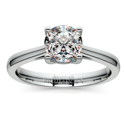 Petite Cathedral Solitaire Engagement Ring in Palladium