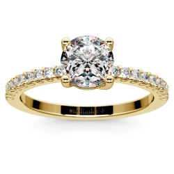 Scallop Diamond Engagement Ring in Yellow Gold (1/5 ctw)