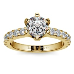 Six-Prong Scallop Diamond Engagement Ring in Yellow Gold