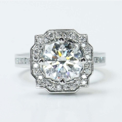 Round Custom Channel Pave Halo Diamond Ring (0.72 Carat) | Other Recently Purchased Rings