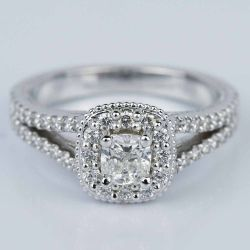 Fancy Milgrain Cushion Halo Diamond Engagement Ring in White Gold (0.50 ct.) | Other Recently Purchased Rings