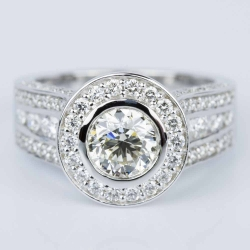 Halo Bezel Diamond Engagement Ring in White Gold (1.52 ct.) | Other Recently Purchased Rings