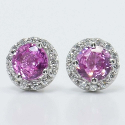 Halo Diamond Earrings with Pink Sapphire Centers | Other Recently Purchased Rings