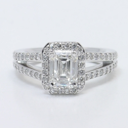 Halo Split Shank Emerald Diamond Engagement Ring | Other Recently Purchased Rings