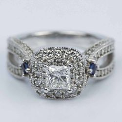 Princess Diamond and Sapphire Double Halo Engagement Ring | Other Recently Purchased Rings