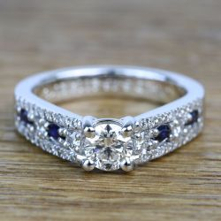 Round Custom Diamond & Sapphire Engagement Ring (0.59 Carat) | Other Recently Purchased Rings