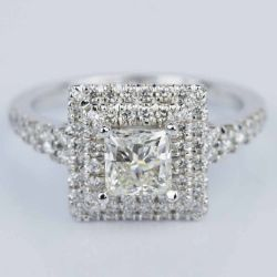 Princess Square Double Halo Diamond Engagement Ring in White Gold (1.21 ct.) | Other Recently Purchased Rings