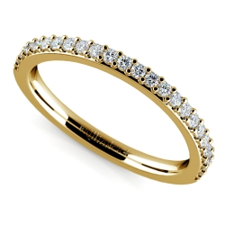 Curved Diamond Wedding Ring in Yellow Gold