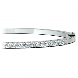 Diamond Bangle Bracelet in White Gold (1 ctw)